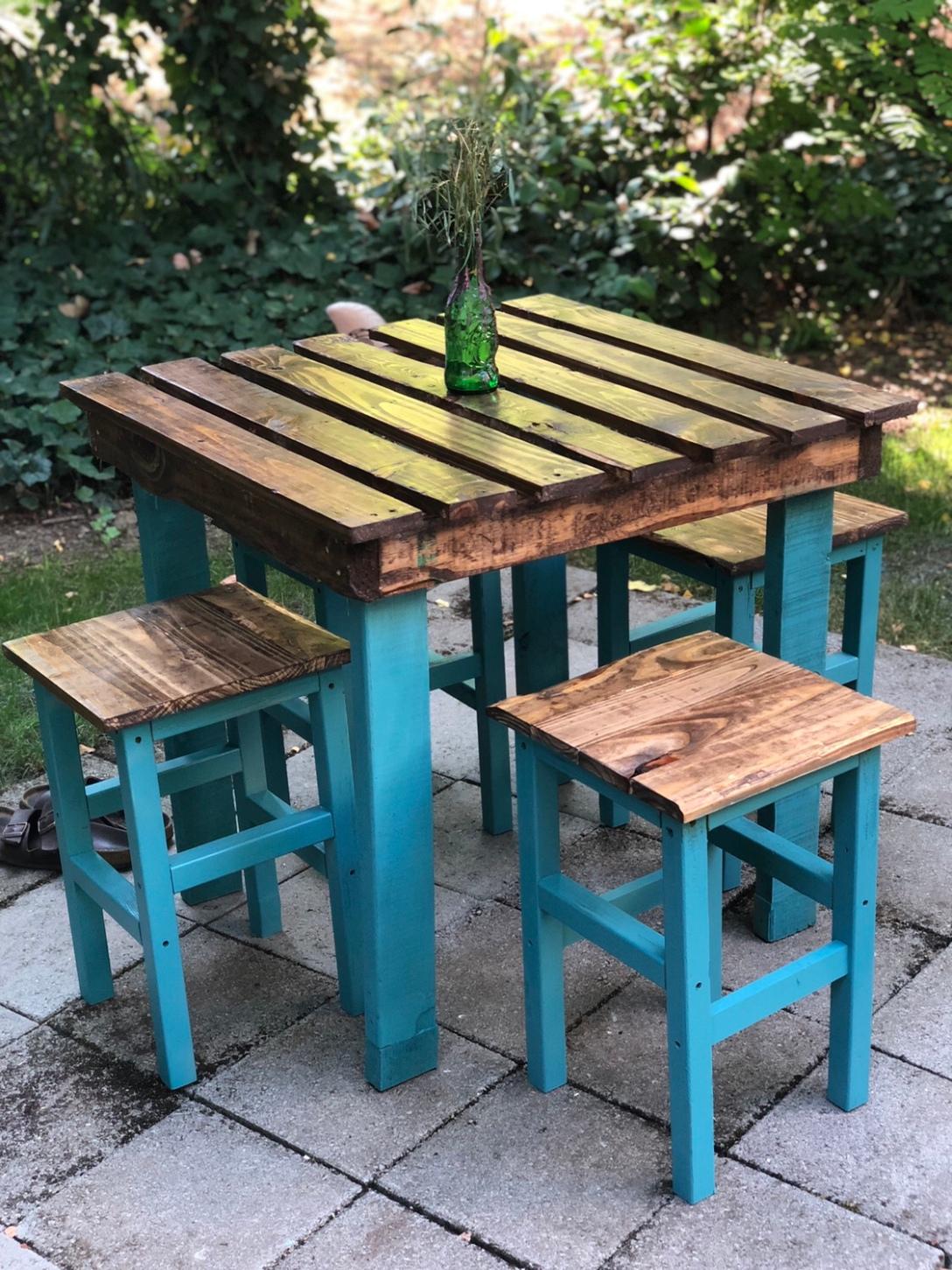 Blue Wood Patio Set