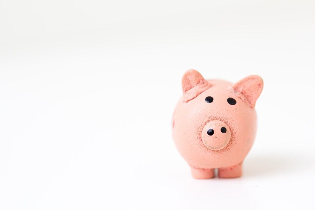 Piggy Bank Against a White Background